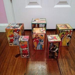 Vintage Stacking Fairy Tale Blocks